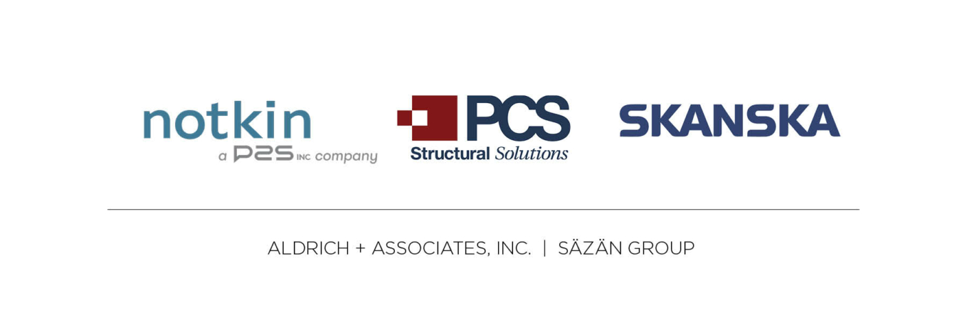 Dark text on white background; Topline text with logos: Notkin - A P2S Company; PCS Structural Solutions; Skanska. Second link, text only: Aldrich & Associates Inc.; Sazan Group