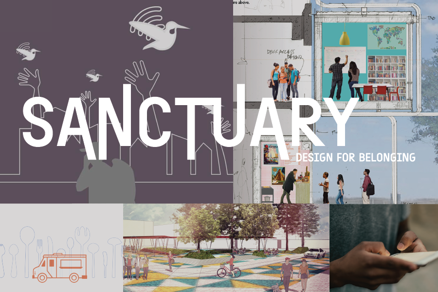 "Text: ""Sanctuary: Design for Belonging"" overlain on top of grid of images from winning competition submissions"