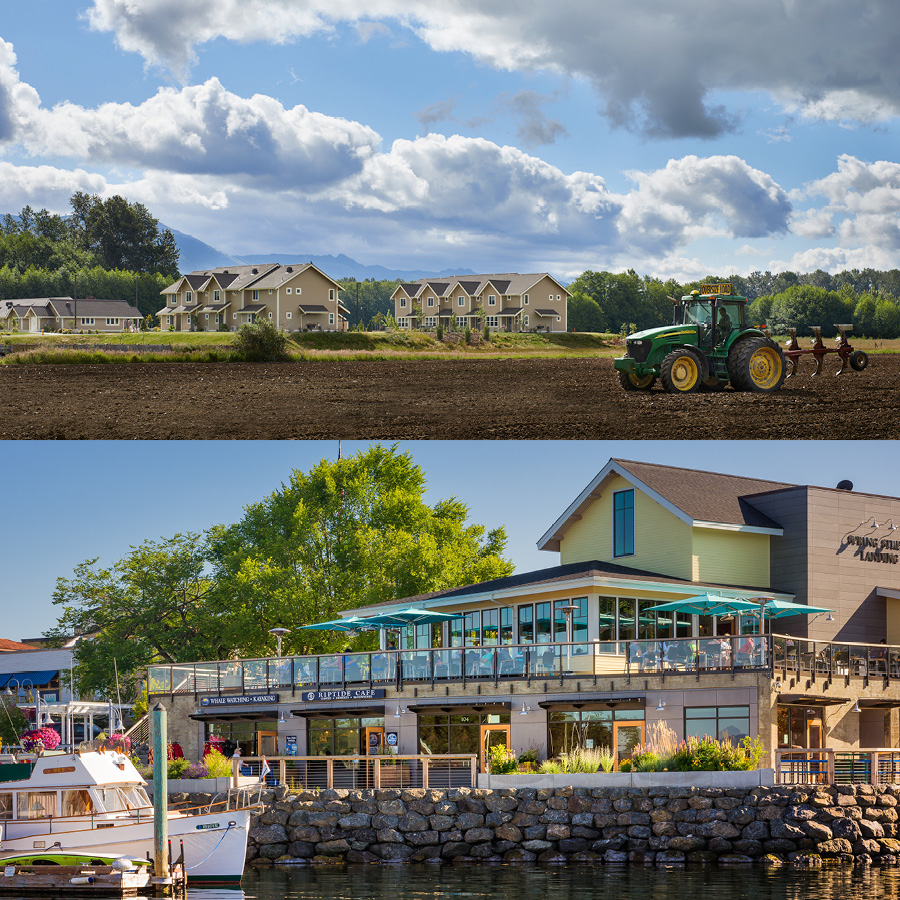 Collage image of a waterfront, three-story mixed-use building, and a series of townhomes/congregate housing against farmland