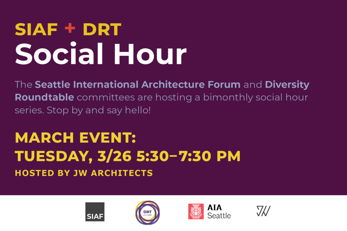 The AIA Seattle Social Hour Series is a bimonthly gathering presented by the Seattle International Architecture Forum and Diversity Roundtablecommittees to encourage connections amongst diverse practitioners withinthe Seattle design community.