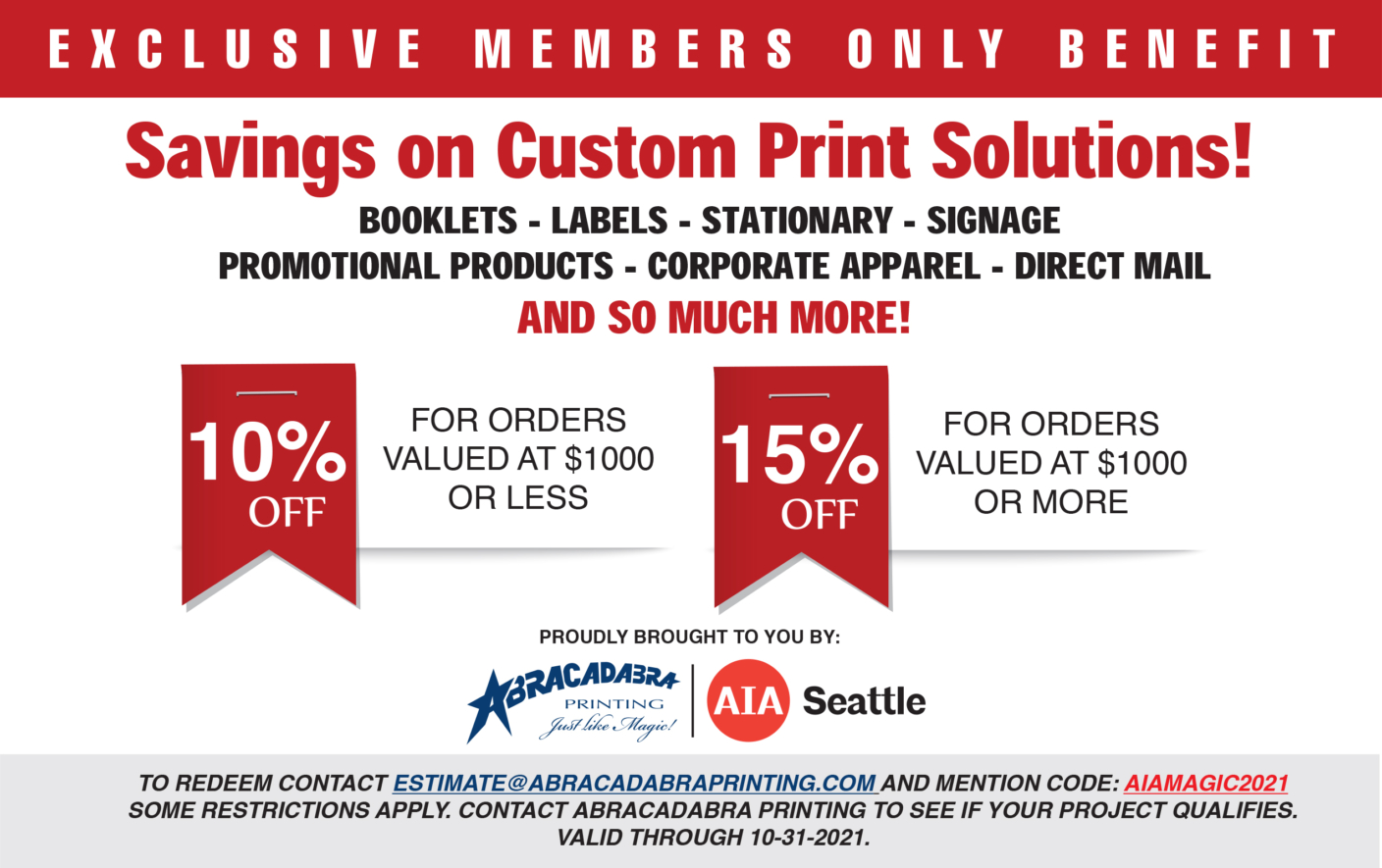 Abracadabra Printing - AIA Seattle Member Firm Discount
