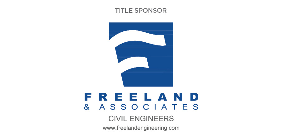 Grey text on white background reads: Title Sponsor. Blue flag-like logo above blue text on white background reads: Freeland & Associates. Grey text along bottom reads: Civil Engineers www.freelandengineering.com