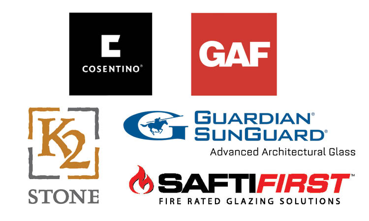 Multicolored sponsor names and logos on white background: Cosentino, GAF, Guardian SunGuard Advanced Architectural Glass, K2 Stone, SAFTI First Fire Rated Glazing