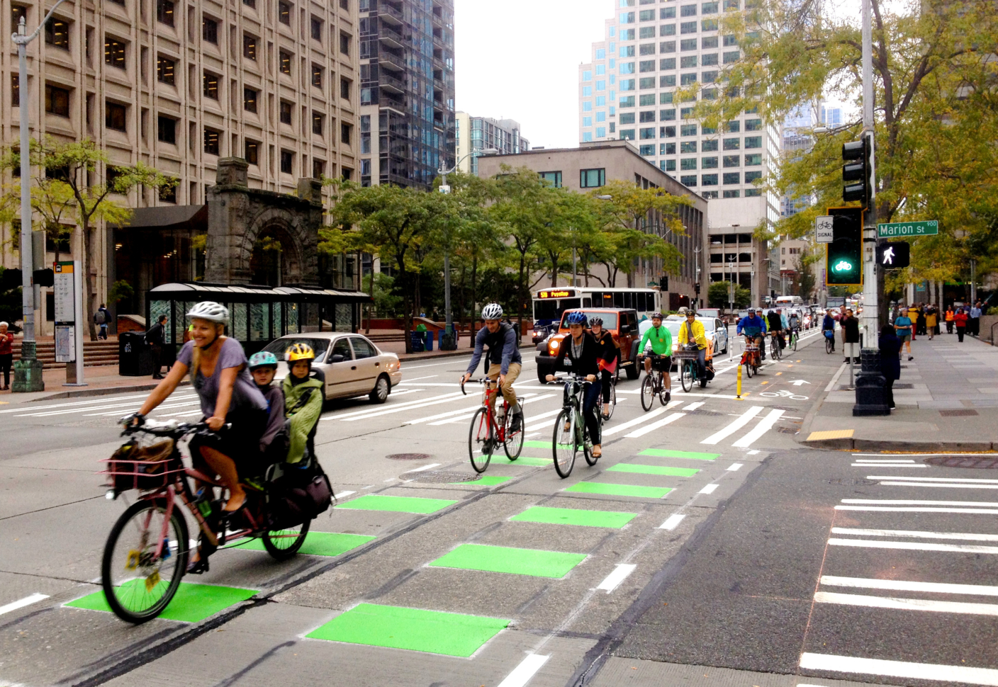 downtown bike lanes with riders